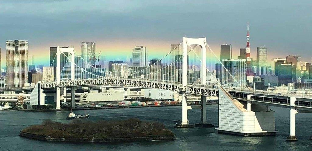 レインボーブリッジに美しい景観!!虹の架け橋色濃く出現!さらに副虹でミラクル重なる